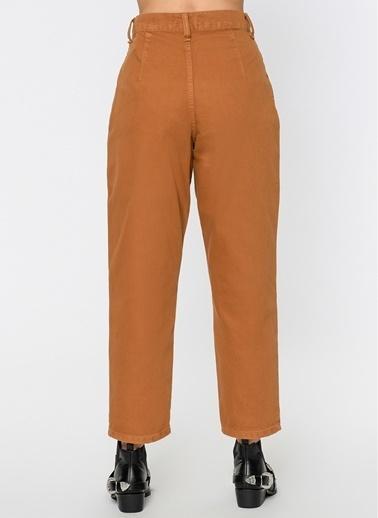 Loves You Slouchy Fit Gabardin Yüksek Bel Jean Pantolon Camel